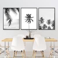 baum bilder schwarz weiß leinwand großhandel-Tropische Palm Leaf Kunst Leinwand Poster Drucke, tropische Plam Tree Fotografie Malerei schwarz weiß Bild Home Wall Art Decor