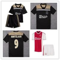 kits de fútbol juvenil rojo al por mayor-2019 Kids kit Ajax casa rojo blanco Camisetas de fútbol chico juvenil Ajax away Camiseta de fútbol # 10 TADIC # 21 DE JONG # 25 DOLBERG # 22 Kit de fútbol ZIYEC