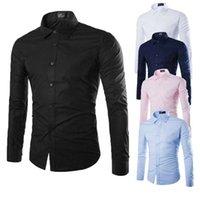 erkek iş hırka toptan satış-Erkekler İş Casual Gömlek Sonbahar Beyaz Toplama yaka Uzun Kollu Tek Breasted Hırka dibe Sıcak Gömlek