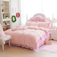 Wholesale cotton velvet duvet cover resale online - Lamb and Coral Velvet Bedding Set with Lace Edge Thick Super Warm Duvet Cover Bedspread and Pillowcase for Girls Room