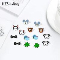 Wholesale bears earrings resale online - HZSHINLING New Arrival Cartoon Kawaii Bear Acrylic Stainless Steel Animal Shrinky Dinks Earrings Resin Earrings Jewelry Epoxy