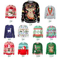 suéteres de navidad de la vendimia de los hombres al por mayor-Suéter de Navidad para Mujer Chica Feo Vintage Túnica de Navidad Tejido Para Mujer Suéter Navidad 3D Impresión Digital Suéter Hombre y Mujer TC181130W