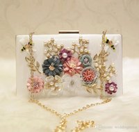 Wholesale bridal party clutch flower for sale - Group buy Fashion Pearls Bridal Hand Bags With Flowers Dragonfly Clutches For Wedding Jewelry Prom Evening Party Bag CM CM