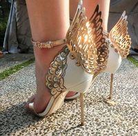 kelebek kutuları toptan satış-Sophia webster Evangeline Melek kanatlı yüksek topuk Sandal Yeni Kelebek Rhinestone Çivili Deri Sandalet Sandalet EUR Boyutu 34-42 orijinal kutusu