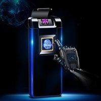 Wholesale electronic presents resale online - Double arc plasma fingerprint identification electronic charging lighter atmosphere lamp intelligent cigarette lighter man presents A6001198