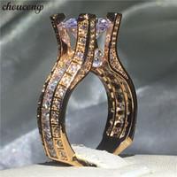 ingrosso anelli di diamanti dell'oro di rosa dell'annata-choucong Vintage Ring Rose Gold Filled 925 Argento 3ct Diamond Engagement Band Anelli per le donne uomini gioielli regalo di nozze