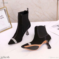 Wholesale botines fashion mujer resale online - 19FW Women Boots Mixed Colors Thin Heel Ankle Boots For Women Fashion High Heel Casual Women Shoes Botines Mujer YECQ7