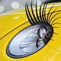 auto aufkleberkäfer großhandel-2pcs / lot 3D reizend schwarze falsche Wimper-gefälschte Augen-Peitsche-Aufkleber-Auto-Scheinwerfer Dekoration Lustige Aufkleber für Käfer