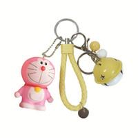 pulseiras chaveiro venda por atacado-Bonito Dos Desenhos Animados PVC Doraemon Chaveiro Pulseira Bell Chaveiro Carro Para As Mulheres Saco Charme Chaveiro Jóias kid brinquedos do partido