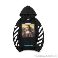 Wholesale painting women resale online - Tide brand hooded sweater Mona Lisa oil painting men and women couples loose hooded sweater