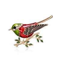 pássaro pintado a óleo venda por atacado-19ss Europeus e Americanos moda broche de aves de alta-grau ramos pintura óleo animal liga jóias broca ponto bonito Senhoras pin