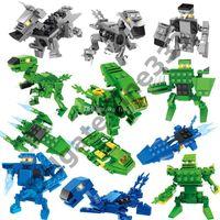 Wholesale blocks set fighter for sale - Group buy Blocks Dinosaur building block toys Surprise Twist Eggs in fighters building block Sets Kids toy Bricks