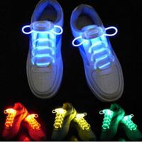 cordones de fibra óptica led al por mayor-2 unidades = 1 par LED cordones de deporte Luminous Flash Light Up Glow Stick intermitente correa de fibra óptica cordones de los zapatos Party Club 2019 promoción