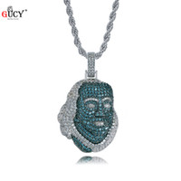 Wholesale famous figures resale online - GUCY New ICED OUT Franklin Famous Figure Pendant Necklace Cubic Zircon Stones Hip Hop Men Women Jewelry Gift