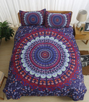 Wholesale red flower bedding sets resale online - 3D Bohemian style bedding sets purple background red compass andyellow flowers printing bedding sets