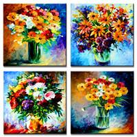 moderne romantische gemälde großhandel-Abstrakt alle Arten von Blumen- und Blumenvasen-bunte Malerei-moderne Kunstwerk-Badezimmer-dekorative Leinwand-Wand-Kunst ungerahmt 4 Stücke
