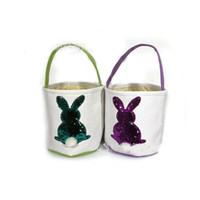 Wholesale sequin bag clothing for sale - Easter Basket Skep Canvas Bag Explosive Money Diy Manual Baskets Embroidery Sequins Rabbit Eco Friendly Anti Wear czaC1