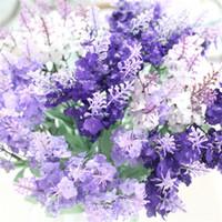 fleurs décoratives violettes achat en gros de-Fleurs Artificielles Violet Tissu En Soie Décoratif Lavande Réaliste Accueil Mariage Décoratif Faux Fleurs 10 Têtes De Fleurs