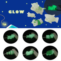Wholesale shark biting resale online - Cable Bite Glow in the Dark styles Animal Bites Cable Protector Shark Hippo Luminous Cable Bites for USB Charger Cord with Retail Box