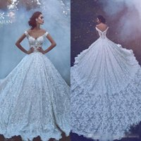 Wholesale ivory dresses skirts resale online - 2019 New Luxury Lace Ball Gown Wedding Dresses Off Shoulder Backless Bridal Gowns Appliques Skirt Cathedral Train Wedding Dress Custom Made