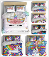 Wholesale rainbow bedding sets resale online - Unicorn Bedding Set Purple Designer Duvet Cover Cartoon Rainbow Animal Printed Bed Line for Girl Princess Room