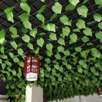 dekoratif şeritler toptan satış-12 adet 2.3 M Sahte Rattan Plastik Yapraklar Yapay Bitki Vines Bahçe Boru Hattı Için Yeşil Dekoratif Ivy Şerit Koridor Tavan dekor