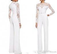 özel pantolon bayan giysileri toptan satış-2019 Yeni Fildişi Anne Gelin Pant Suits Ile Tulum Uzun Kollu Dantel Süslenmiş Kadınlar Örgün Akşam Aşınma Custom Made