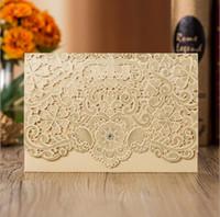 rendas imprimíveis venda por atacado-2019 Venda Quente Cartões de Convites de Casamento Branco Laser Cut Cartões Personalizáveis para Impressão com Laço Flora Favores Do Casamento