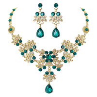 Wholesale dark blue bridal jewelry resale online - High quality Blue crystal earrings necklace bridal jewelry sets for women elegant wedding jewelry set aniversary Formal Events jewelry