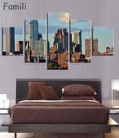 güzel yeni resim toptan satış-5 Adet / takım New York Şehir Boyama Güzel Modern Köprü Resim Duvar Sanatı Dekor Tuval Boyama Çerçevesiz Baskılı