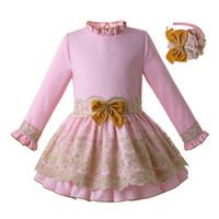 ingrosso abito di compleanno di principessa rosa-Pettigirl Nuovo vestito spagnolo per le ragazze Pink Teenage Princess Birthday Dress Lace Girls Party Dress Abbigliamento per bambini G-DMGD110-C105