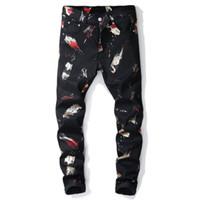 pantalones de moda occidental al por mayor-Nuevo estilo occidental jeans hombres Pantalones de impresión digital Slim fit flor denim pantalón elástico de la moda negro pantalones casuales negros