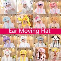 tapa de dibujos animados para niños al por mayor-Mover el oído de la felpa de la historieta de los niños del sombrero del bebé encantador del casquillo de Halloween sombreros de Navidad carnaval de la mascarada del casquillo de las mujeres de los hombres Sombrero de decoración sombreros del partido 5101