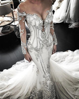 Wholesale long sleeve sheer top wedding dresses resale online - Sheer Mesh Top Lace Mermaid Wedding Dresses Tulle Lace Applique Beaded Crystals Long Sleeves Wedding Bridal Gowns BC0446