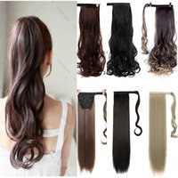 Wholesale long curly ponytail hairpiece for sale - Group buy MUMUPI long thick straight curly ponytail wrap around ponytail clip in Hair extensions natural hairpiece headwear