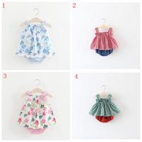 süße babykleidung großhandel-Sommer Tragen Neue Mädchen Streifen Krawatte Schmetterling Kleid Print Babykleid Weste + Kurze Hosen Süße Kleidungsstil Outfits