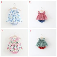 ingrosso abiti di stile farfalla-Vestiti estivi New Girl Stripes Cravatta Butterfly Dress Stampa Baby Girl Dress Vest + Short Pants Sweet Dress Style Outfits