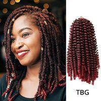 kıvırcık yay toptan satış-3 Adet / grup Bahar Büküm Saç Kanekalon Tığ Örgüler Ombre Örgü Saç 8 inç Sentetik Saç Uzantıları Örgü Kinky Kıvırcık Twists