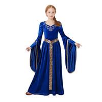 mittelalterliche cosplay kostüme großhandel-Pettigirl Langes Vintage Mädchen Kleid Mittelalter Blau Prinzessin Kostüm Renaissance Königshaus Cosplay Kinderkleidung Fantasie G-DMGD205-G011