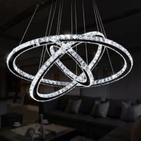 leuchtende kronleuchter großhandel-Moderne K9 Kristall Ringe Kronleuchter Lichter LED Deckenleuchte Wohnzimmer Esszimmer Lampe Restaurant Design Hanglamp Lustre Cristal