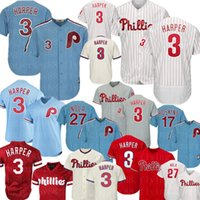 Wholesale cool quick jerseys resale online - Bryce Harper Jersey Philadelphia Baseball Phillies Jersey Rhys Hoskins Aaron Nola Jerseys Retro Flex Base Cool