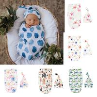 Wholesale bear style bags for sale - Group buy 6 Styles Toddler Infant INS Swaddle Boys Girls Bear Dinosaur Blanket Hat Set Newborn Baby Soft Cotton Sleep Sack Sleeping Bags M1848