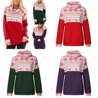 weihnachts t shirts plus größe groihandel-Plus Size Frauen Hoodiepullover Bluse Weihnachten Long Sleeve Patchwork Tops Weihnachtsren Schneeflockedruck Damen-T-Shirt XL-5XL A120503