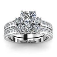 anel de noiva coração conjunto venda por atacado-Lindo Marca de Jóias 925 Sterling Silver White Sapphire Diamond Heart Ring Set Presente de Aniversário de Natal Proposta de Casamento Nupcial Jóias