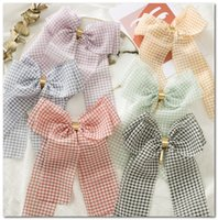 Wholesale old clips resale online - Kids plaid Bows hairpins girls metals buckle Bows princess hair clip children ribbon lattice Bows barrettes old girls hair accessories J0706