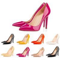 frauen keil fersen kleid schuhe großhandel-Büro Caree ACE Mode Luxus Designer Frauen Kleid Schuhe rote Böden High Heels 8 cm 10 cm 12 cm Nude schwarz weiß Leder Damen Toes Pumps