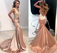 Wholesale occasion elastic spaghetti special dresses online - Charming Lace Mermaid Evening Dresses V Neck Sweep Train Appliques Backless Special Occasion Dress Sexy Formal Party Prom Gowns Vestido
