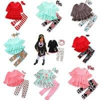baby-outfit rot großhandel-Einzelhandel 9 Arten Baby-Weihnachtsausstattungen 3pcs stellten (unregelmäßiges rotes T-Shirt + Aufflackernhose + Bogenstirnband) Kinddesigner-Trainingsanzugmädchen Klage-Satz ein