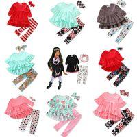 bebek için kırmızı takım toptan satış-Perakende 9 Stilleri Bebek Kız Noel Kıyafetleri 3 adet set (düzensiz kırmızı tshirt + flare pantolon + yay bandı) çocuklar tasarımcı eşofman kızlar Suit Set