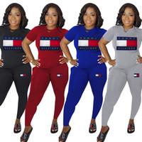 mulheres de agasalho preto venda por atacado-Tammy Mulheres Designer de Fatos de Treino Meninas Carta de Impressão de Duas Peças Calças Conjunto Roupas de Verão de Manga Curta Desgaste Dos Esportes Azul Vermelho Preto Cinza